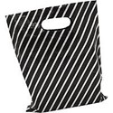 Black and Silver Stripe Plastic Bags 230mm x 280mm. Box of 500