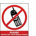 Vinyl Sign, Self Adhesive BACK - Please Switch Off Your Mobile - 165mm x 190mm